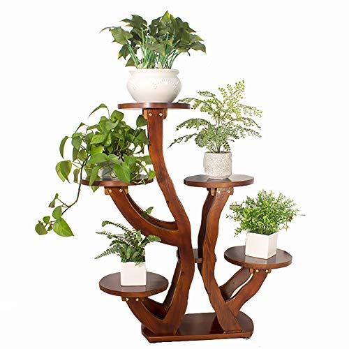 Plante en bois Stand de fleurs 5 Stand Échelle Intérieur Intérieur Balcon Patio Coin Vert Radis Pot De Fleur Présentoir (Couleur : Maroon color)