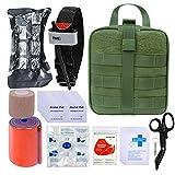 BUSIO First aid Kit-Tactical Bag,Medical EMT Scissor,Tourniquet,Splint Roll,Adhering Stick,Israeli Bandage,Emergency Mylar Blanket,Survival Whistle
