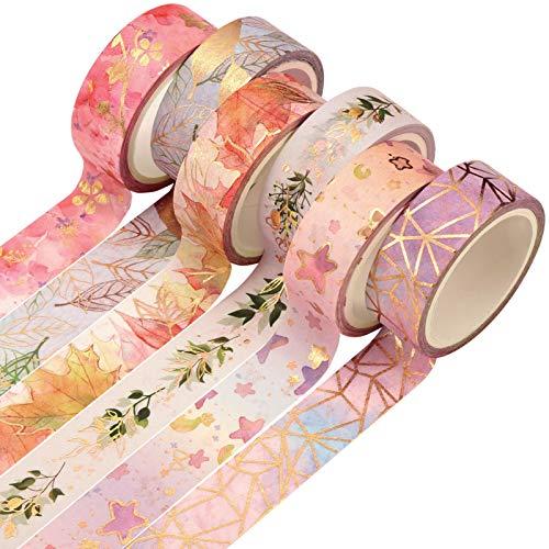 Veraing 6 Rollen Washi Tape, Masking Tape Dekoratives Klebeband Goldene Foliendruck DIY Papier Tape für DIY Bastler, Verschönert Journals, Planer, Karten und Scrapbooking