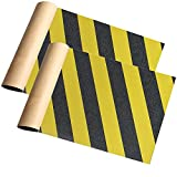 2 Pack 9' x 33' Skateboard Grip Tape Sheets, ZUEXT Bubble Free Waterproof Black and Yellow Stripes Scooter Griptape, Sandpaper for Rollerboard Stairs Pedal Pistol Wheelchair Steps(84x23cm)