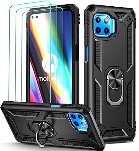 iVoler Cover per Motorola Moto G 5G Plus con 3 Pezzi Pellicola Vetro Temperato, Grado Militare Custodia Protezione con Anello Ruotabile Cavalletto, Antiurto TPU Bumper Case - Nero