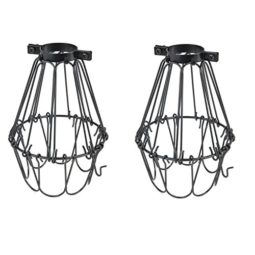 Rustic State Set of 2 Industrial Vintage Style | Hanging Pendant Metal Wire Cage | Light Fixture Lamp Guard