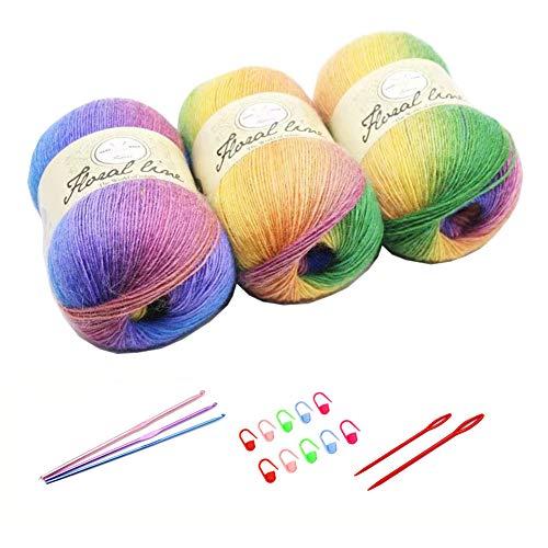 3X 100g Rainbow Wool Yarn Balls Chunky Knit Double Pom Pom Coloured Chunky Wool with 3 Crochet...