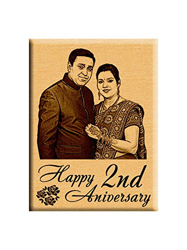 Incredible Gifts India First or 2nd Marriage for Couples– Personalized Photo Plaque (5x4 inches, Wood, Beige)