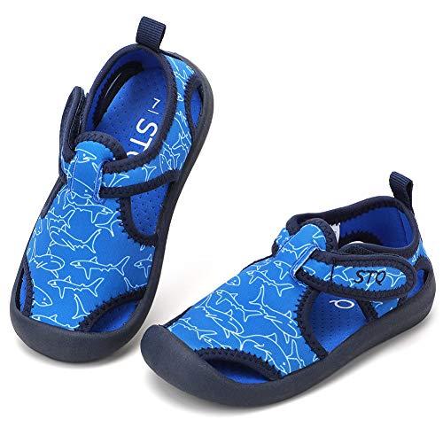 STQ Wasserschuhe Jungen Sandalen Klettverschluss Hausschuhe Schnelltrocknend Strandschuhe Licht Sommer Sneakers Blau/Hai 23 EU