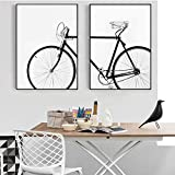 wymhzp Moderne Abstrakte Wandkunst Schwarz Weiß Fahrrad
