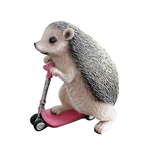 erddcbb Lindo Erizo Montando un Scooter Resina Animales Mascotas jardín Figuras decoración de Pascua