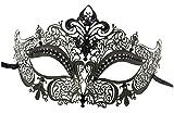 Luxury Mask Women's Laser Cut Metal Venetian Masquerade Crown Mask Ball Prom Mardi Gras, Gold/Black Stones, One Size