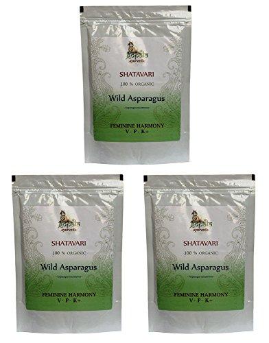 Bio SHATAVARI Pulver (250g - 3er pack) Asparagus racemosus - 100% Bio-zertifiziertes pflanzliches Nahrungsergänzungsmittel der Lacon GmbH