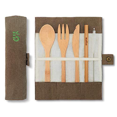 Bambaw Eßbesteck aus Bambus | Reisebesteck | umweltfreundliches Besteckset | Messer, Gabel, Löffel und Strohhalm| Besteck Holz | Reisebesteck für unterwegs mit Reiseetui | 20 cm | Olive
