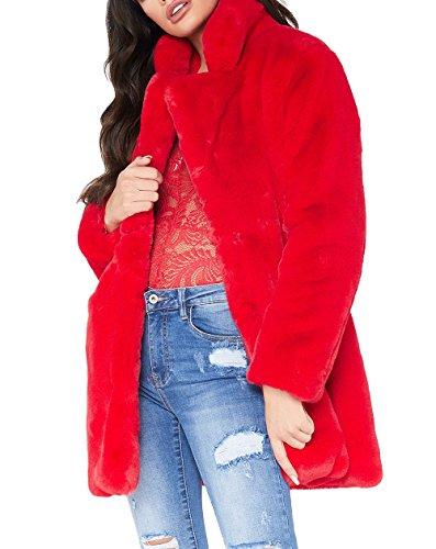 Remelon Womens Long Sleeve Winter Warm Lapel Fox Faux Fur Coat Jacket Overcoat Outwear with Pockets Red S