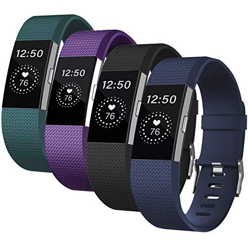 Deilin Armband für Fitbit Charge 2 für Damen und Herren, Silikon Ersatz Fitness Armbänder Ersetzbares Sport Uhrenarmband Fitness Wristband für Fitbit Charge2 (19 Olivgrün/Dunkelblau/Schwarz/Lila, L)