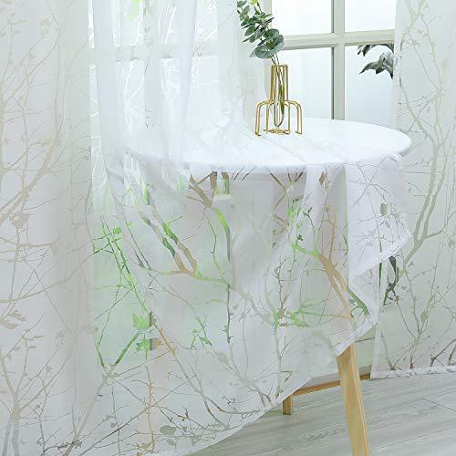 Heichkell Weiße Gardine mit Ausbrenner-Pflaumenblüte Voile Kräuselband Vorhang für Wohnzimmer Blumenmuster Dekoschals 1 Stück 175 cm x 140 cm(H x B)