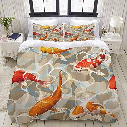 Nonun Duvet Cover,Koi Carps Varicolored Floating Fish,Bedding Set Ultra Comfy Lightweight Microfiber Sets