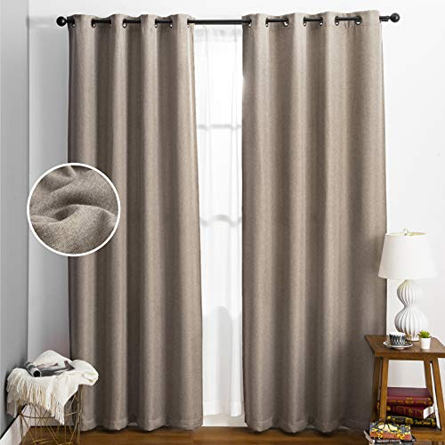 Bedsure Linen Textured Curtains, Grommet Curtains for Living Room 84 Inch Length 2 Panels, Room Darkening Curtains for Bedroom(52 X 84inch,Beige)