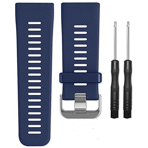AUTRUN Band pour Garmin Vivoactive HR Montre, Doux Bracelet en Silicone de Remplacement Band pour Garmin Vivoactive HR Sports Montre GPS, Bleu Marine