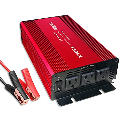 Power Inverter 12v to 110v, Dc to Ac Converter with 3 AC Outlets, 1000W Modified Sine Wave Inverter for Car/RV/Home