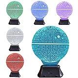 Pasway Ilusión óptica 3D Deco LED Lámpara Noche de Luz de Escritorio Botón Táctil de Escritorio Del USB LED Lámpara de Tabla Ligera 7 Cambio de Color (Redondo)