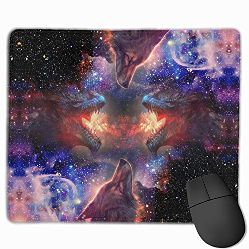 Dragon Wolf Galaxy Gaming Mouse Pads Mouse Pad with Stitched Edge, Office Computer Mouse Pad with Non-Slip Rubber Base, Mouse Pads for Computers Laptop Mouse 9.8x11.8x0.3 Inch