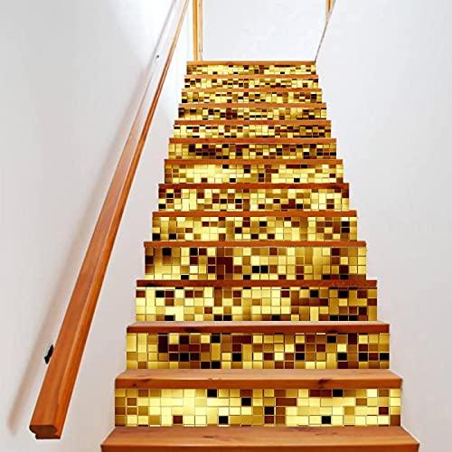 tzxdbh suelo vinilo rollo Dorado mosaico 100CMx18CMx6pieces(39.3'w x 7'h x 6pieces) Impermeable Etiqueta de la pared extraíble Pegatinas Adhesivos Autoadhesivos Dormitorio del Hogar