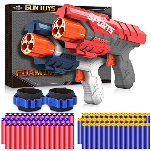 POKONBOY 2 Pack Toy Blaster, Foam Dart Blaster Toy Gun with 2 Wristbands & 60 Pcs Refill Darts, Compatible with Nerf Blaster Guns for Kids 6+