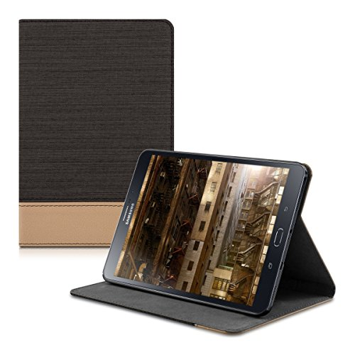 kwmobile Hülle kompatibel mit Samsung Galaxy Tab S2 8.0 - Slim Tablet Cover Hülle Schutzhülle mit Ständer Schwarz Braun
