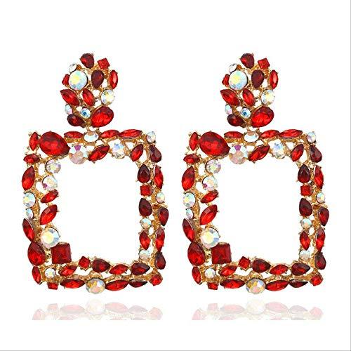 Pendientes para mujer Juegos de aros Pendientes redondos de diamantes de imitación Pendientes grandes de cristal cuadrado grande Pendientes de lujo Pendiente de gota geométricoestiloBohemia8
