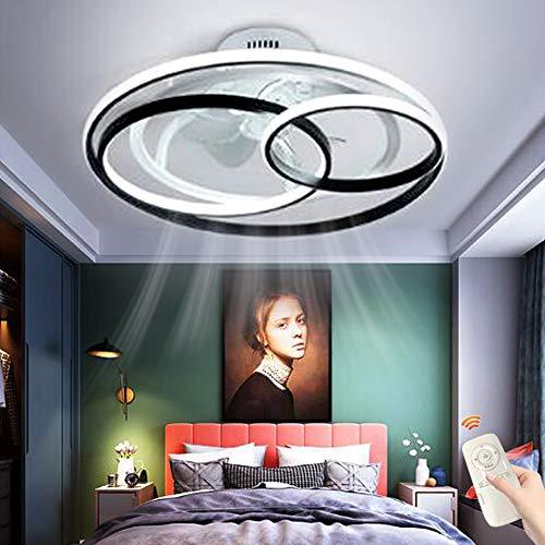 FUMIMID Ventiladores De Techo Con Iluminación LED Anillo Regulable Luz De Techo Ventilador Invisible Creativo Lámpara De Techo Ventilador Ultra Silencioso Lámpara De Sala De Estar Dormitorio,58cm