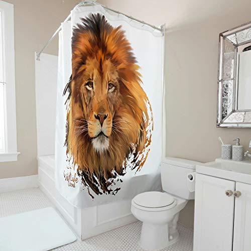 Gamoii Tier Löwe Duschvorhang Bad Vorhang 3D Druck Dusche Gardinen Nicht Gerüche Shower Curtains mit Duschvorhangringe White 120x200cm