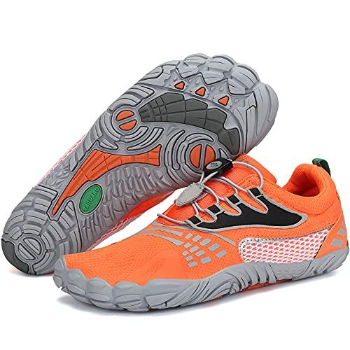 SAGUARO Barfussschuhe Herren Damen Fitnessschuhe Atmungsaktiv rutschfest Traillaufschuhe Outdoor & Indoor Trainingsschuhe Schnell Trocknend Minimalistische Zehenschuhe Stil:4 Orange Gr.42