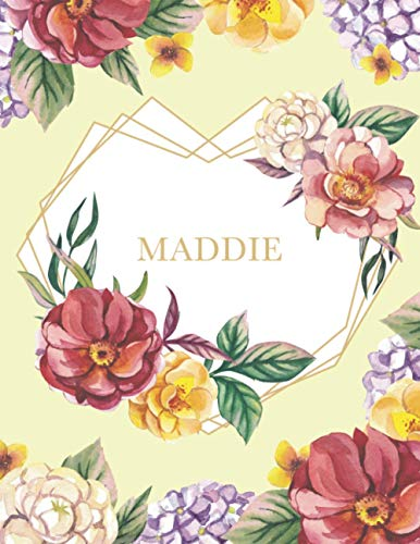 Maddie: Personalized Notebook with Name in a Heart Frame. Customized Journal with Floral Cover. Narrow Lined (College Ruled) Notepad for Women and Girls