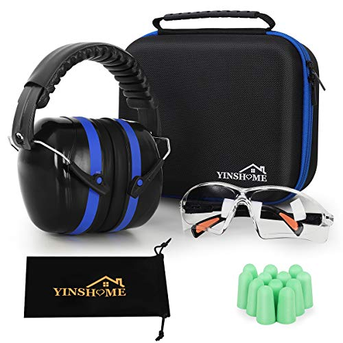 YINSHOME Shooting Ear-Protection Earmuffs, Gun Safety Glasses, Earplugs, Protective Case