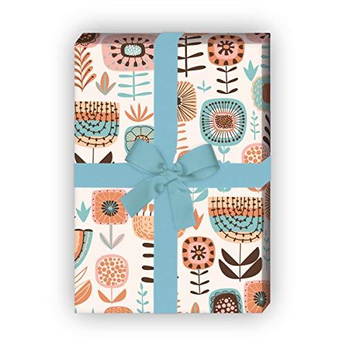 Folklore bloemen cadeaupapier met retro bloemen voor mooie geschenkverpakking, 32 x 48 cm, 4 vellen voor het inpakken van verjaardagen, huwelijk, decoratiepapier, beige
