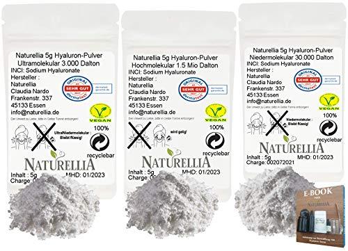 Naturellia 15g Vegan Hyaluronsäure Pulver pur Trio Hochdosiert 5g Hyaluron Pulver Niedermolekular & 5g Hyaluron Pulver Hochmolekular & 5g Hyaluron Pulver Ultramolekular premium für Kosmetik geeignet