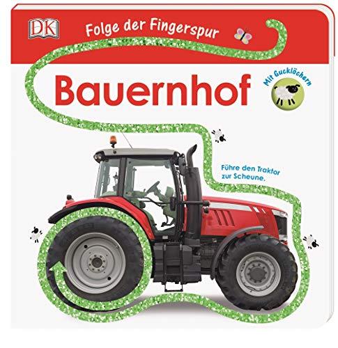 Folge der Fingerspur. Bauernhof: Führe den Traktor zur Scheune. Mit Glitzerspur und Gucklöchern.