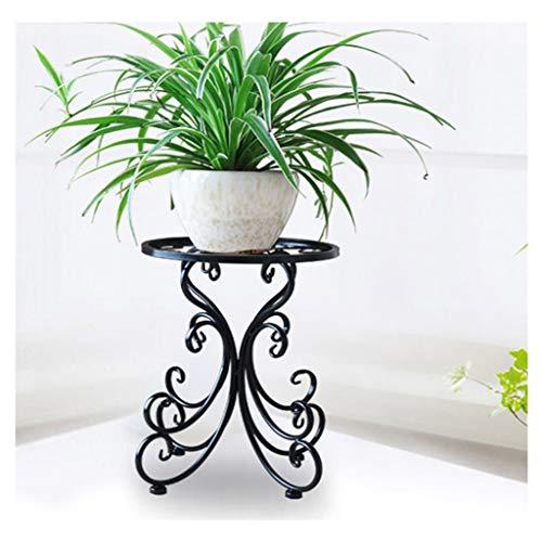CXD Maceteros de pie de Estilo Europeo, balcón de Hierro Forjado, balcón, Varias Plantas, Sala de Estar (Color : Negro)