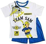 Feuerwehrmann Sam Schlafanzug Shorty Jungen (Blau-Weiß, 110-116)