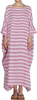 ZSBAYU Womens Boho Striped 3/4 Batwing Sleeve O-Neck Casual Loose Kaftan Ankle-Length Linen Long Maxi Dress