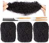 DAIXI 3 Bundles 6inch Afro Kinkys Bulk Human Hair Only for Dreadlocks, 50g/Bundle Full Head 100% Human Hair Soft Afro Kinky Curly Hair Bulk for Dreads, Dreadlock Needles and Comb (6 6 6, 1B)