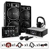 elektronic-star 'Block Party' Sono completa (incluye 2altavoces Auna, 1mesa de mezclas Auna, 1Micro y 1auriculares de diadema 2000W