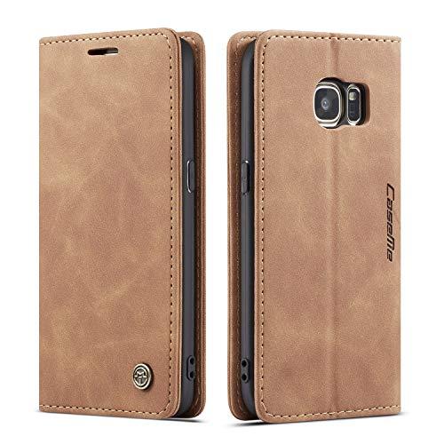 QLTYPRI Hülle für Samsung Galaxy S7, Vintage Dünne Handyhülle mit Kartenfach Geld Slot Ständer PU Ledertasche TPU Bumper Flip Schutzhülle Kompatibel mit Samsung Galaxy S7 - Braun