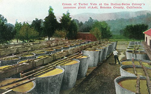 Asti, California - Cream of Tartar Vats View at Italian-Swiss Colony (12x18 Fine Art Print, Home Wall Decor Artwork Poster)