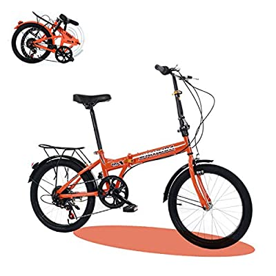 20in Folding Bikes for Adult, 7-Speed Drivetrain Mini Urban Commuters Bicycle, Rear Carry Rack, Multiple Colors (A Orange 20in)