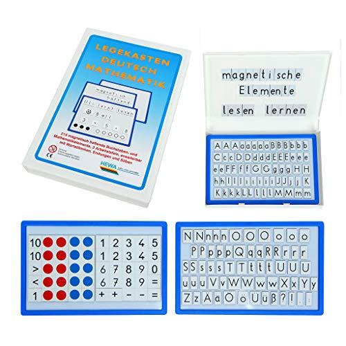 HEWA Legekasten Deutsch & Mathematik, 3 Tafeln mit 210 Magneten ׀ Wiemann Lehrmittel
