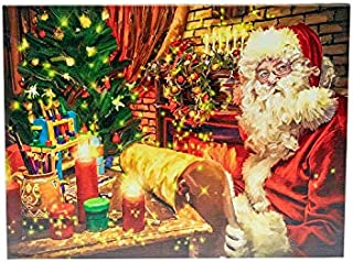 Clever Creations Santa by Fire Place Light Up Poster Canvas Wall Art with Bright LED Lighting - 15.75 in x 11.75 in Perfect Size for Living Room, Office or Classroom - Battery Powered