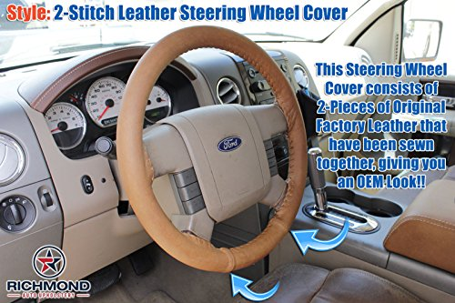 Richmond Auto Upholstery Compatible With 2004 2005 2006 2007 2008 Ford F-150 King Ranch - Leather Steering Wheel Cover, 2-Stitch Style
