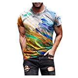 T Shirt for Men Casual Street Interesting Design Printed Tee Round Collar Short Sleeve Tops Basic Blouse Pullover Tights