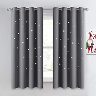 NICETOWN Gray Stars Kids Curtains - Nap Time Essential Nursery Window Curtains for Kid's Room, Super Cute Drape Panels with Die-Cut Stars (2 Panels, W52 x L63 inches, Grey)