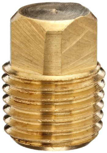 Anderson Metals Brass Pipe Fitting, Solid Square Head Plug, 1/8' Male Pipe