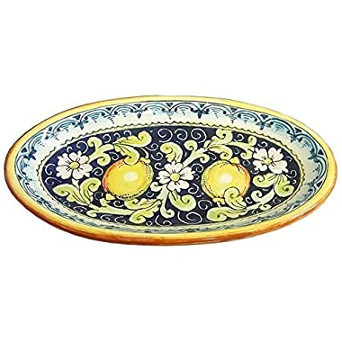 CERAMICHE D'ARTE PARRINI - Italian Ceramic Art Pottery Serving Bowl Tray Hand Painted Decorative Lemons Tuscan Made in ITALY